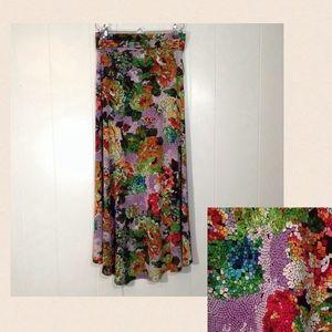 A La Tzarina Multi-color Floral Mosaic Maxi Skirt